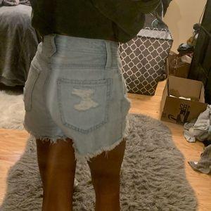 Hollister Light Wash High Rise Cotton Mom Shorts